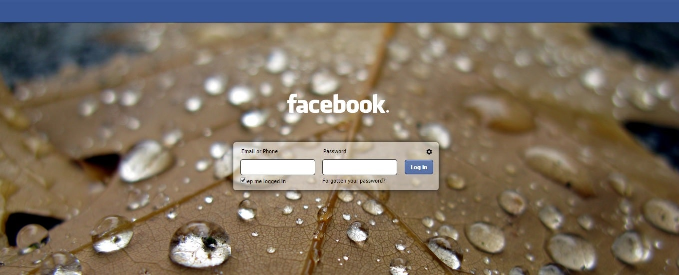 Facebook - Change Facebook Homepage Login Screen
