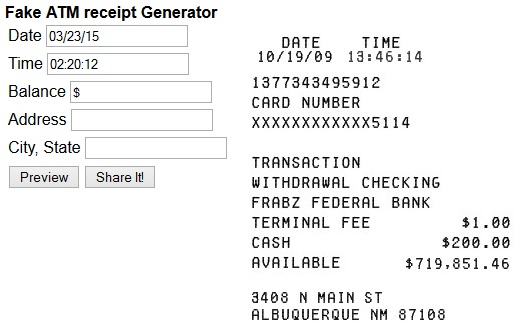Fake ATM Receipt Generator - Create Fake ATM Transactions Receipts