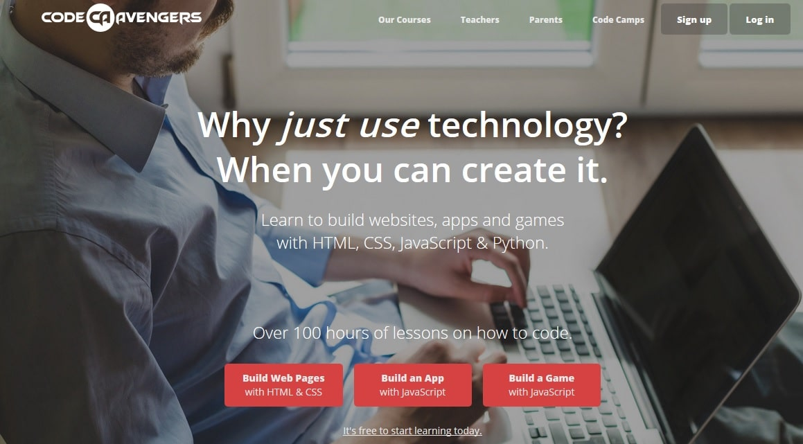 Code Avengers - Learn to build websites, apps and games with HTML, CSS, JavaScript and Python