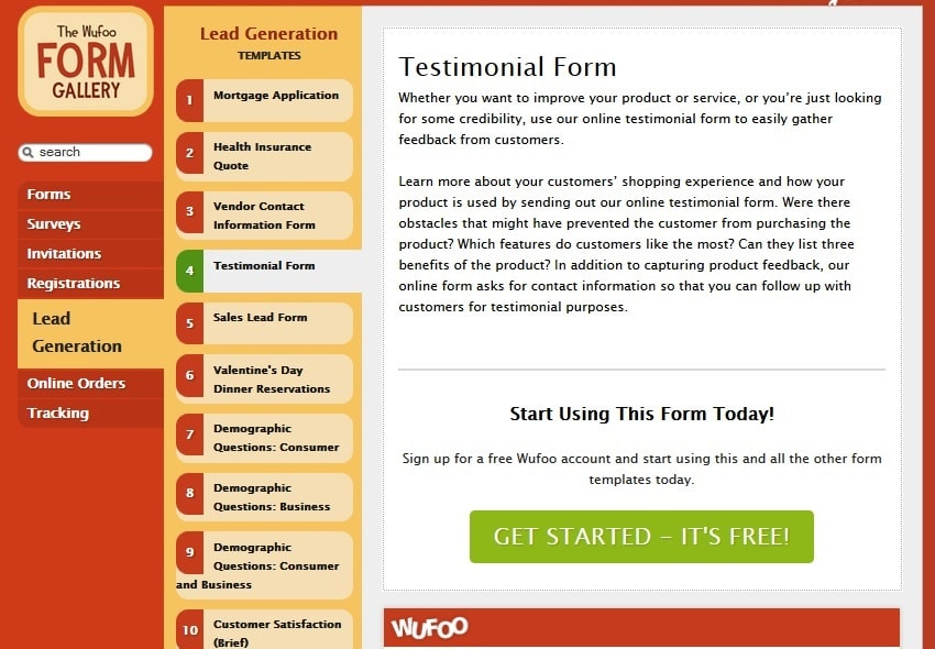 Wufoo - Free Online Form Builder Tool with Cloud Storage Database for Lead Generation