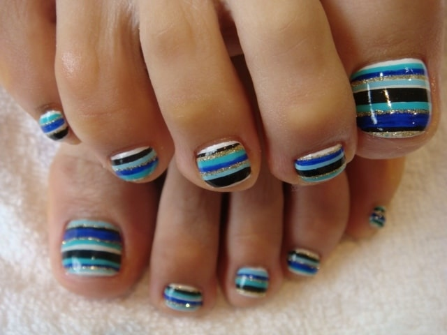 Creative Toe Nail Design Art Idea for Short Nails