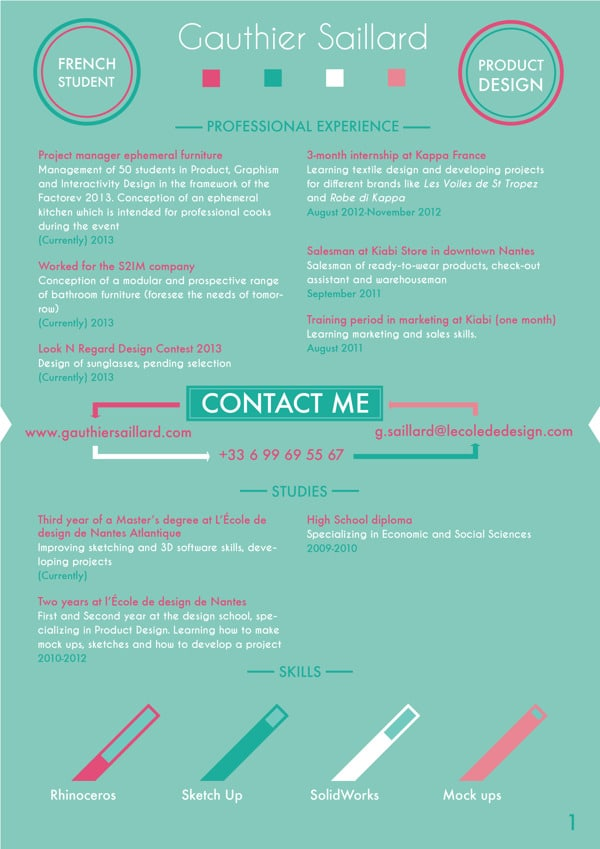 Curriculum Vitae 2016 Grahic Design Resume Template