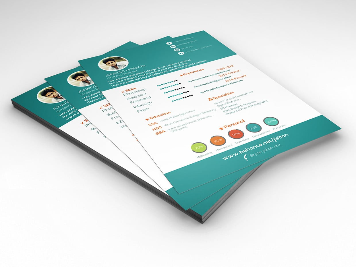 Free Graphic Design Infographic Resume CV Vitae Design