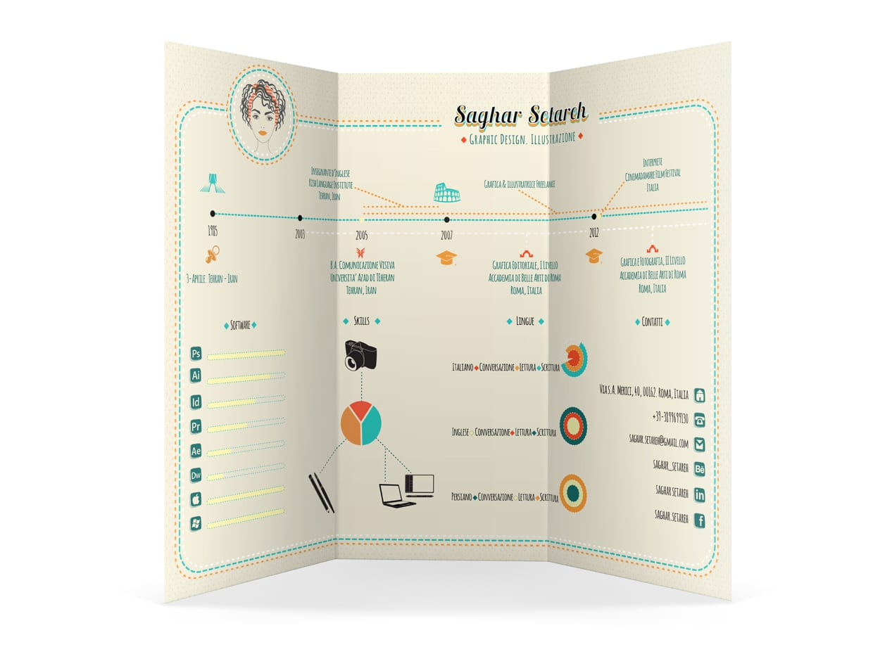 Infographic CV Mini Portfolio Design Resume Template Sample