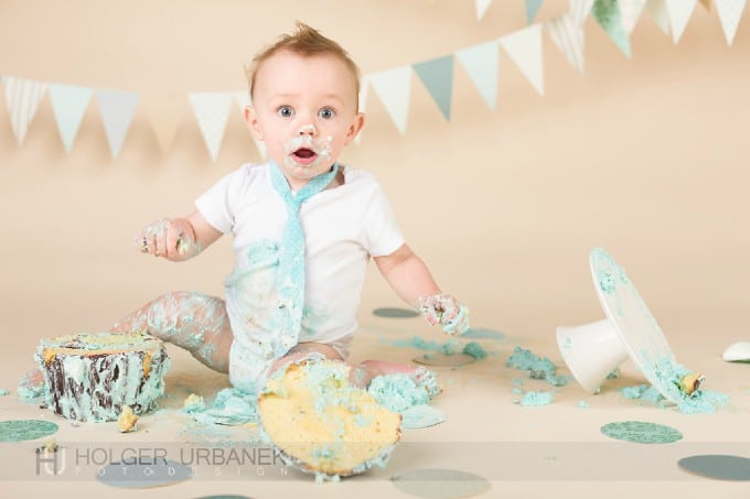 Little Funny Baby Boy Smashed a Cake - Funny Cute Baby Pictures