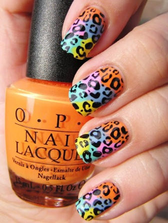 Multi-coloured-leopard-nails-designs