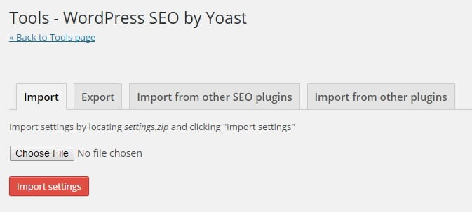 Other SEO Tools Import Settings for Trnasferring SEO Settings to Yoast