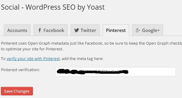 Pinterest Verification of Meta Tag in Social Settings of WordPress SEO by Yoast