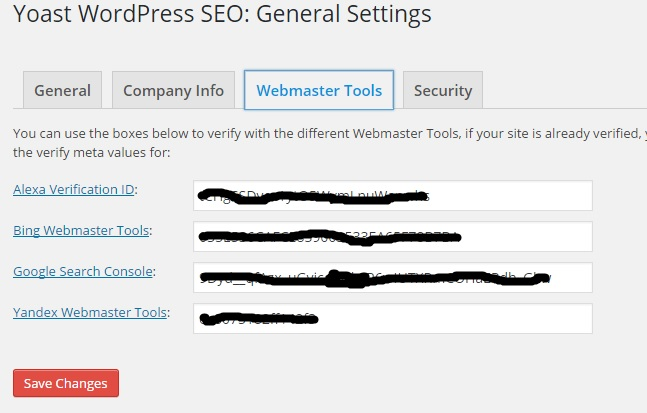 Set Up WordPress SEO by Yoast Plugin - Webmasters Tools Settings