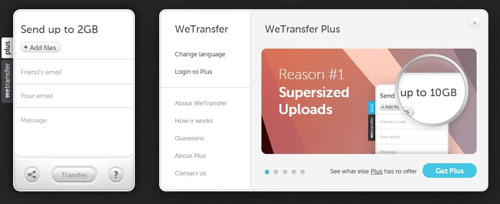 WeTransfer - Transfer Gigantic 10 GB Monster Files