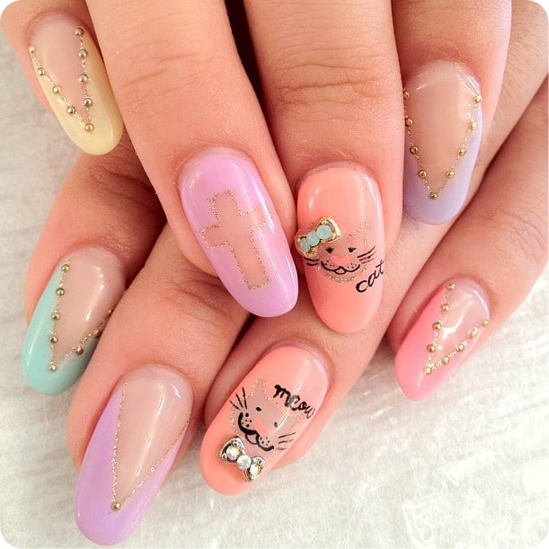 110 cute nail design ideas for creative nail art designers cool but easy nail designs multy color prinsesfo Image collections