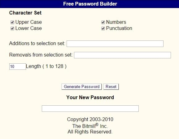 Free Password Builder - Strong Random Password Generator Tool for Free