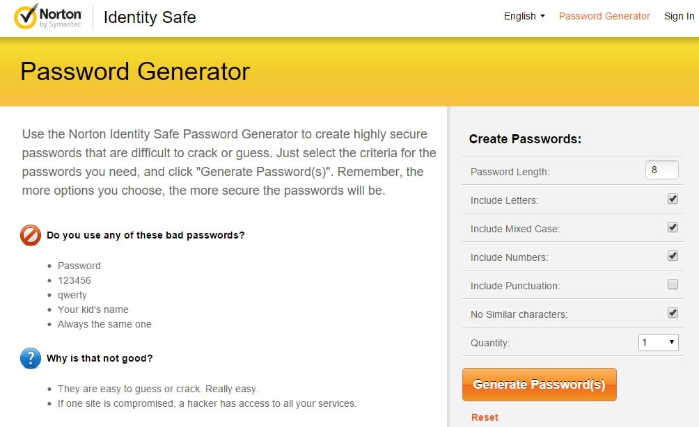 Norton Identity Safe Secure Password Generator