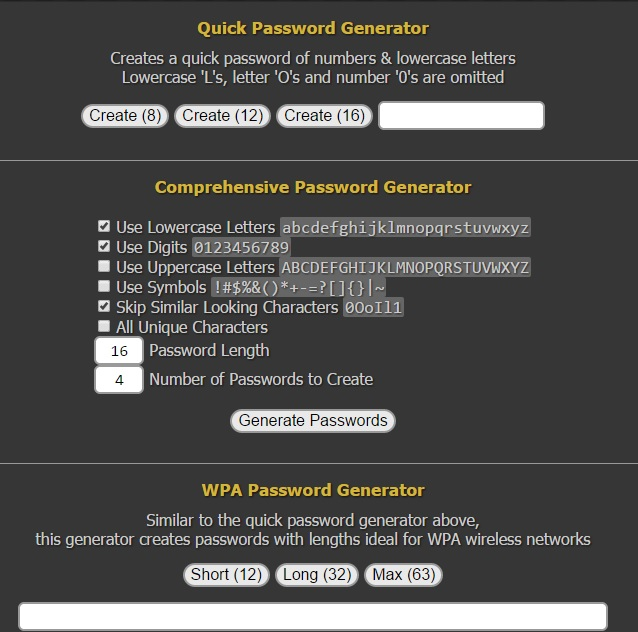 Quick Password Generator - Generate Secure Random Passwords Online
