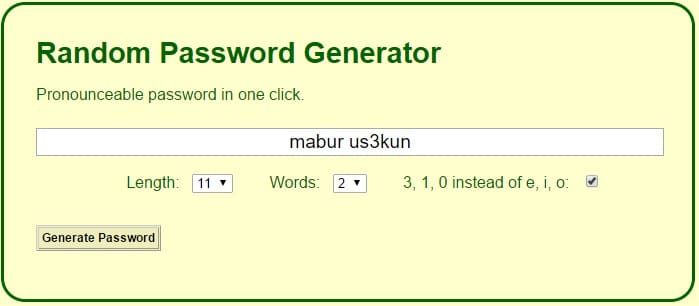 Random Password Generator - Pronounceable Password in One Click
