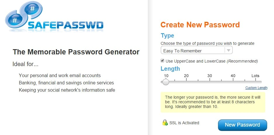 Safe Password - Secure Memorable Password Generator