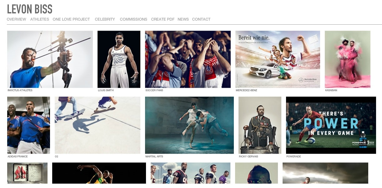 Levon Biss Sports Photography Website Portfolio Design Ideas