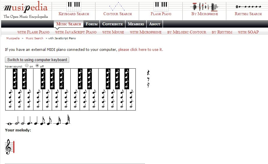 MusiPedia - Find What Song Is This Using Computer Keyboard or Virtual Piano Key Notes