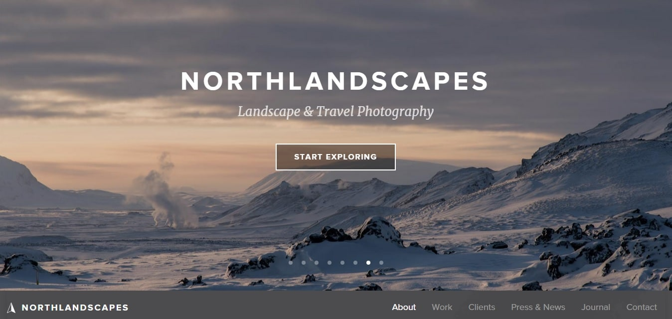 North Landscapes Travel Photography Website Design Ideas for Portfolio