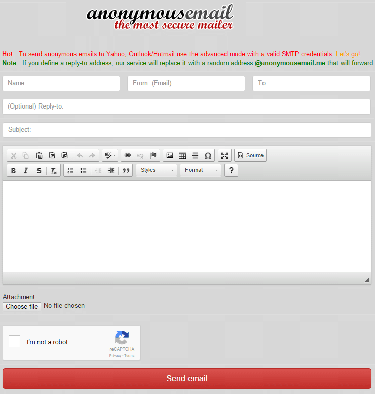 AnonymousEmail - Send Anonymous Email with Attachment - Free Anonymous Email Sender