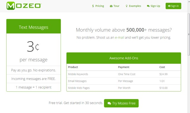 Mozeo: simple mass text messaging service with pay as you go system