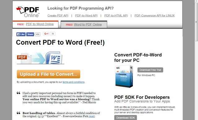 PDF Online - Free Online PDF to Word and Word to PDF Converter