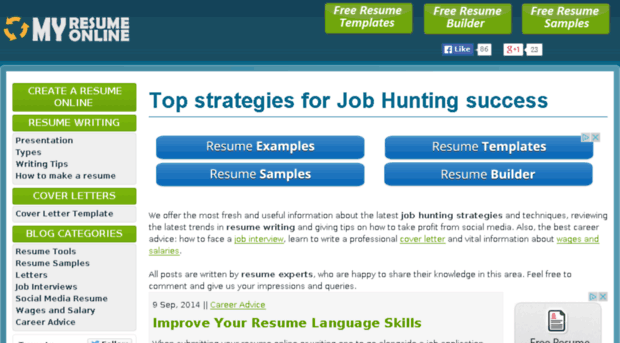 MyResumeOnline   Best Free Online Resume Maker Site   Curriculum Vitae  Creator  Top Resume Sites