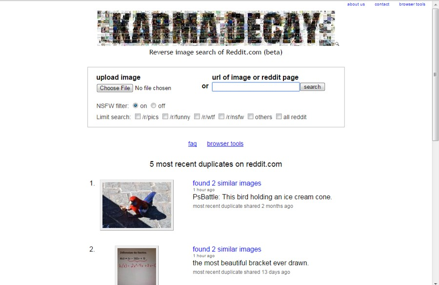 Karma Decay - Reverse Image Search by Reddit