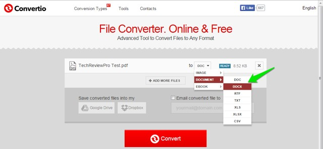 Select Format in Free Online File Converter Tool to Change PDF to Word Online