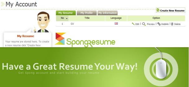 Sponge Resume   Best Free Online Resume Maker Site   Best Curriculum Vitae  Generator Tool  Best Resume Building Sites