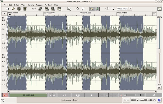 sweep: Edit almost any audio file - best free audio editing software for Linux