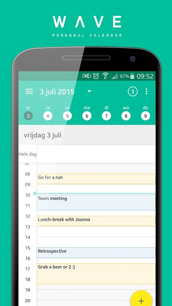 WAVE Calendar Feature-rich Android Calendar Widget App - Best Calendar Apps for Android - Best Calendar Widget Android