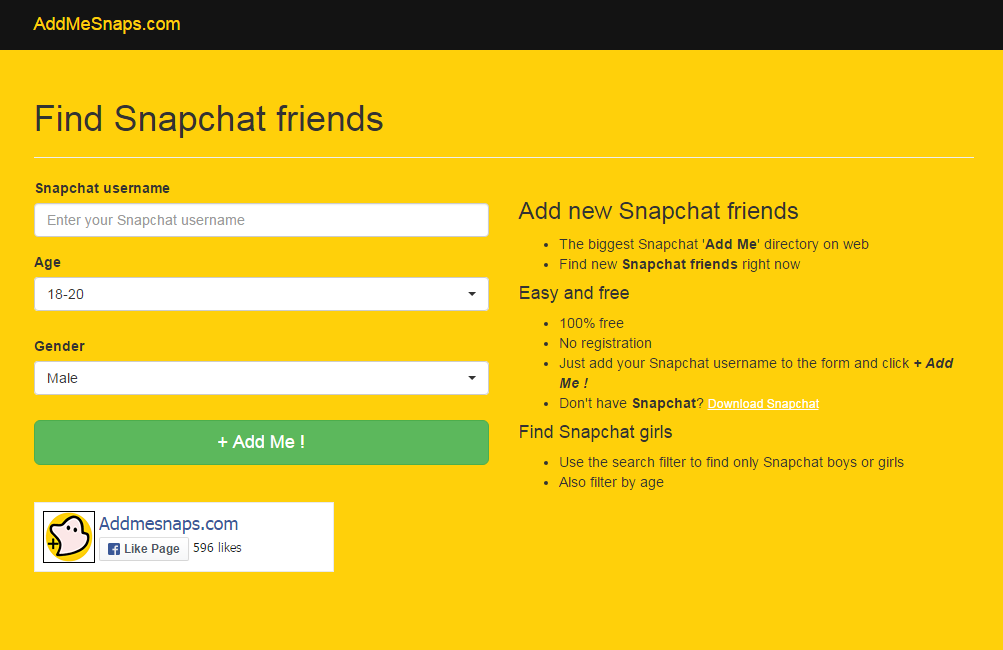 AddMeSnaps.com-Find Snapchat Friends in bulk - Snapchat Friends Finder Tool to Add Friends on Snapchat