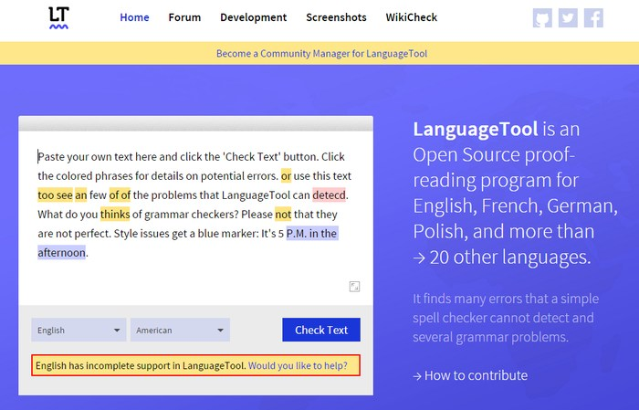 Language Tool - Multilingual grammar checker - grammar checking tool