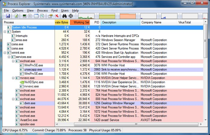 Process-Explorer-Interface - Spy Detector Software for Windows