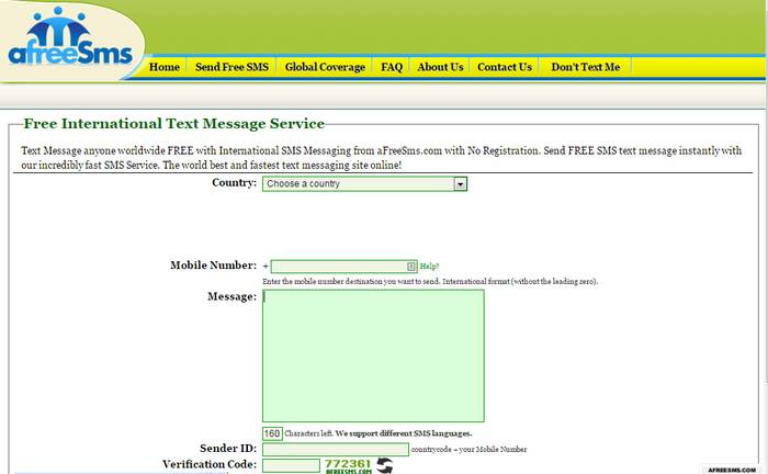 afreeSms - Free SMS Sending Site to Send a Text from PC - Send Free SMS Online