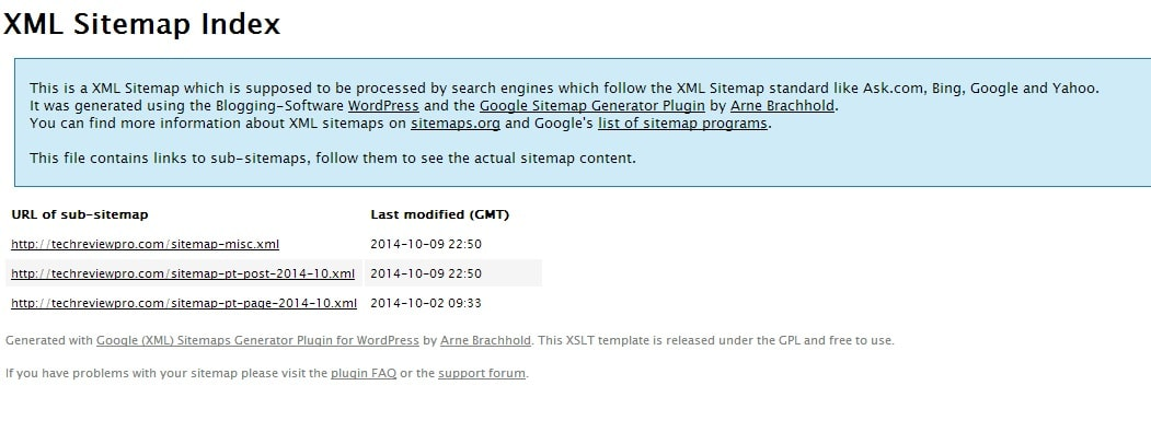 XML Sitemap of TechReviewPro Created by XML Sitemap Generator Plugin