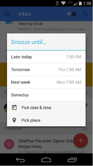 Snooze Feature of Google's New Inbox by Gmail