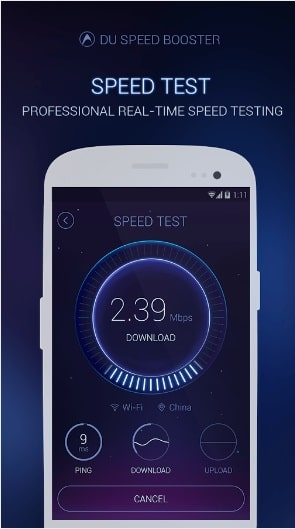 DU Speed Booster Tests Your Internet Speed