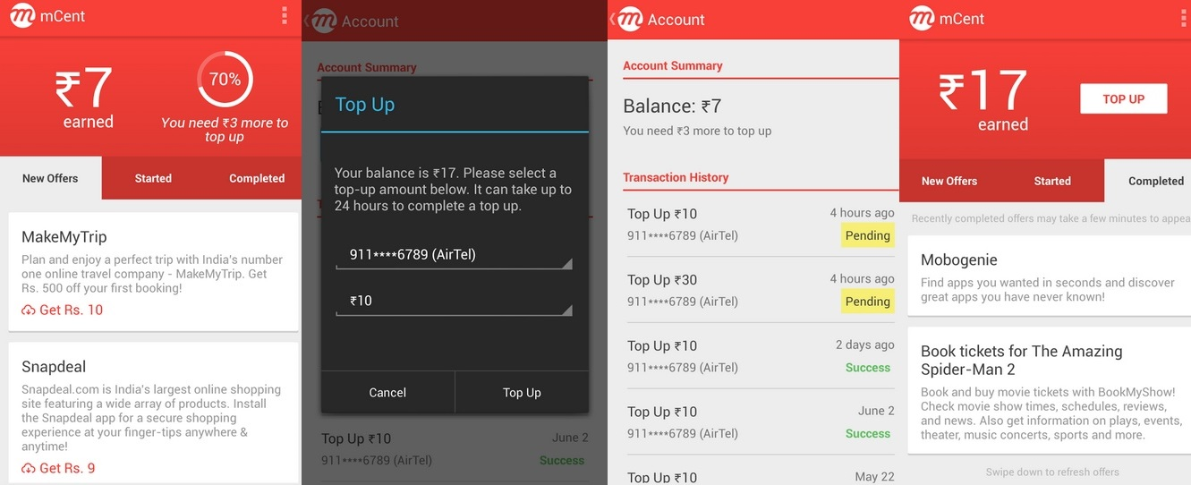 mCent Android Apps to Get Free Mobile Recharges