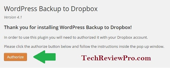 Authorize WP Backup Plugin to Send Backup to Dropbox