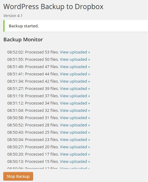 Backup Manually WordPress Site to Dropbox