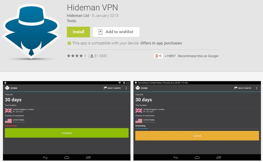 Hideman VPN - Free Virtual Proxy Network for Android Users
