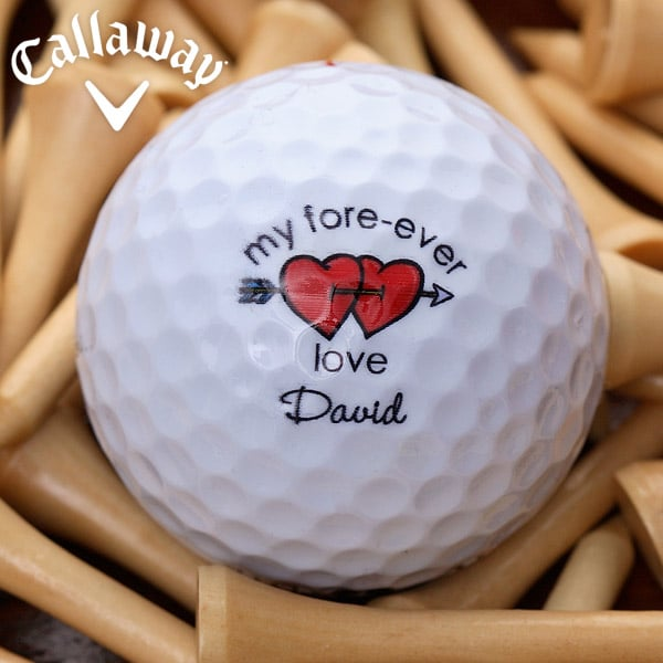 Personalized Loving Hearts Golf Ball Set - Cheap Valentines Day Gift Ideas for Men