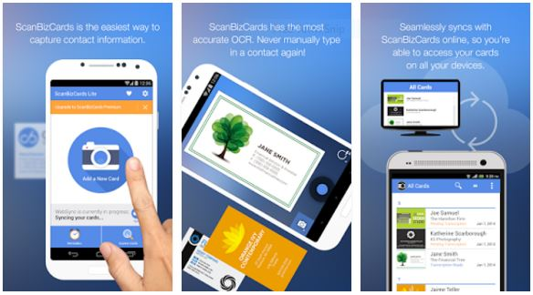 scanbizcards scan card best business card scanner apps for android - Best Business Card Scanner