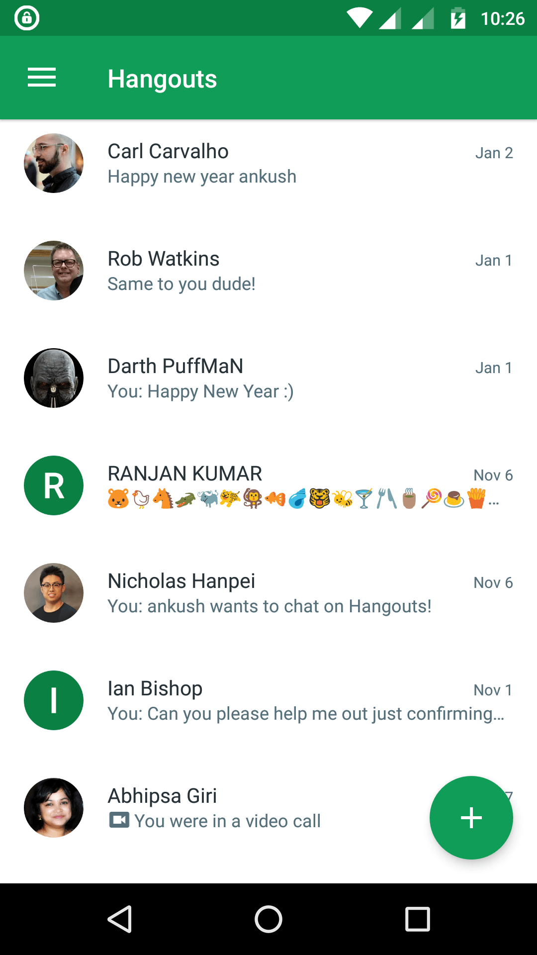 hangouts - free text messaging app for Android