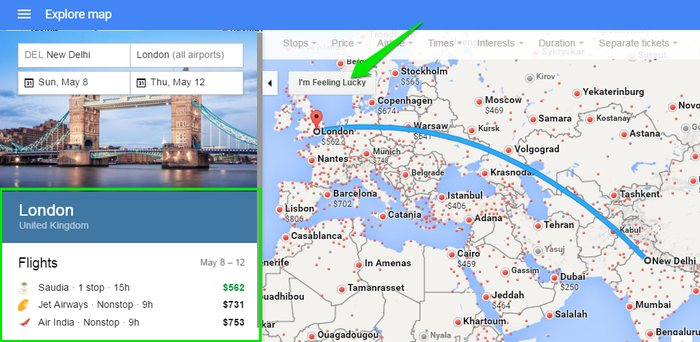Google-Flights-I'm-Feeling-Lucky - Google Flights Search Tricks - Check Google Flights Status - 6 Google Flights Status Checking Tips to Become a Google Flights Guru