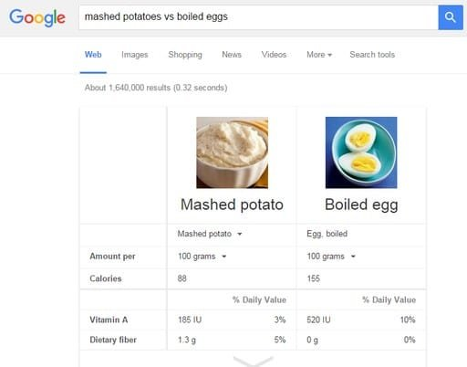 Google Search Tips and Tricks - Compare Foods