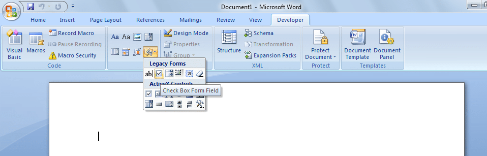 how to include checkbox in word