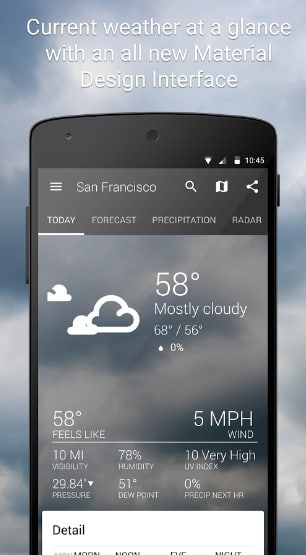 1weather - Best Android Weather Apps - Best Weather Widgets for Android